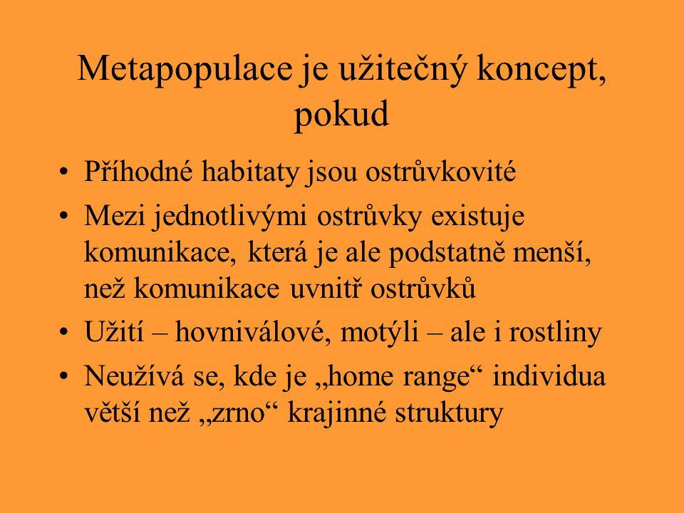 Metapopulace je užitečný koncept, pokud