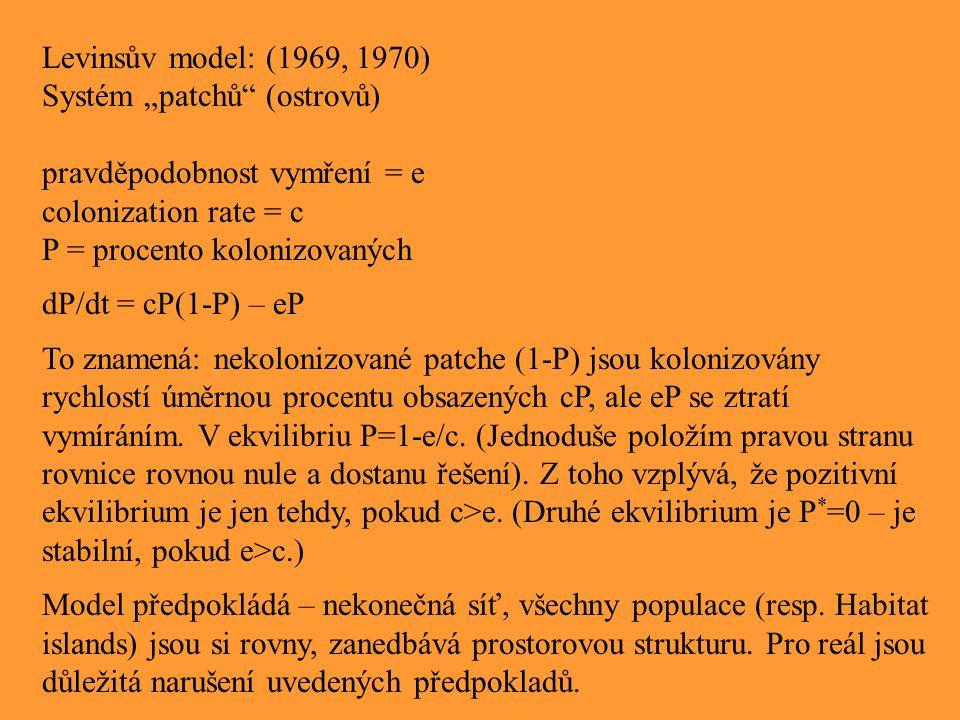 """Levinsův model: (1969, 1970) Systém """"patchů (ostrovů) pravděpodobnost vymření = e. colonization rate = c."""
