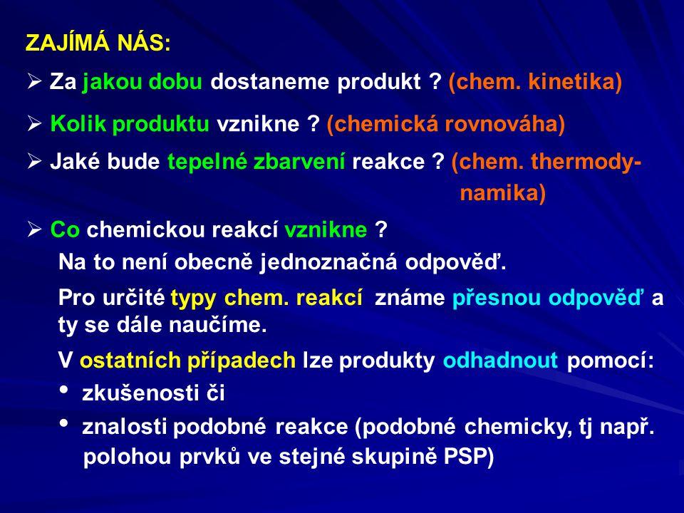 ZAJÍMÁ NÁS: Za jakou dobu dostaneme produkt (chem. kinetika) Kolik produktu vznikne (chemická rovnováha)