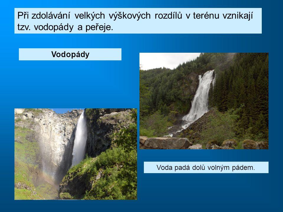 Voda padá dolů volným pádem.