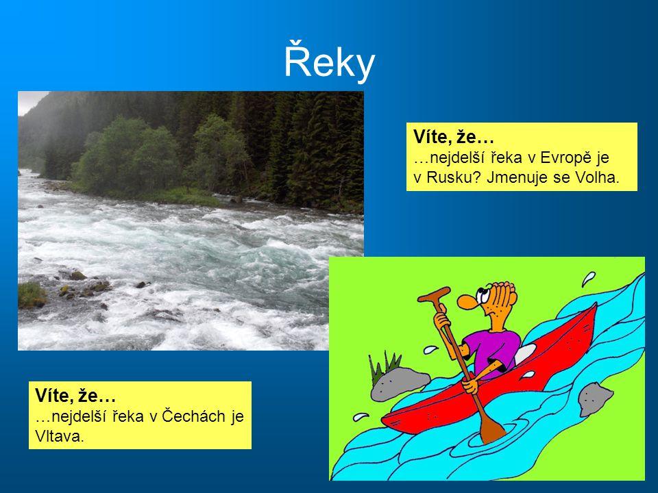 Řeky Víte, že… …nejdelší řeka v Evropě je v Rusku Jmenuje se Volha.