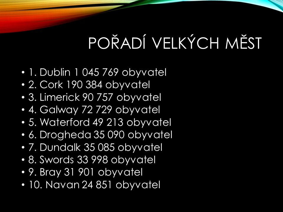 POŘADÍ VELKÝCH MĚST 1. Dublin 1 045 769 obyvatel
