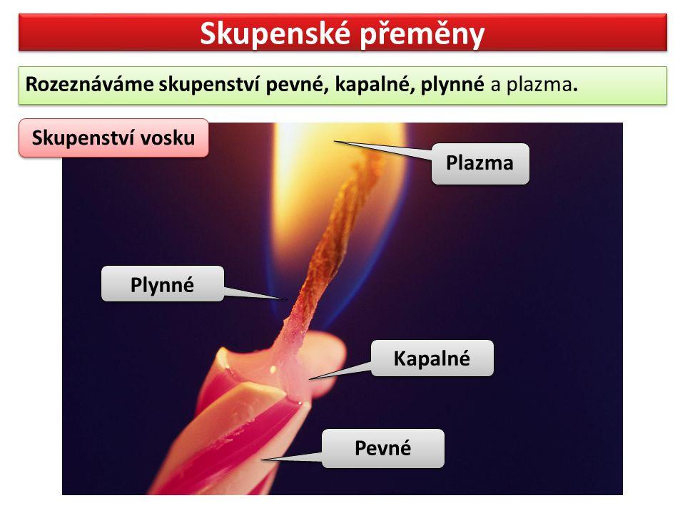 Skupenské přeměny Rozeznáváme skupenství pevné, kapalné, plynné a plazma. Skupenství vosku. Plazma.