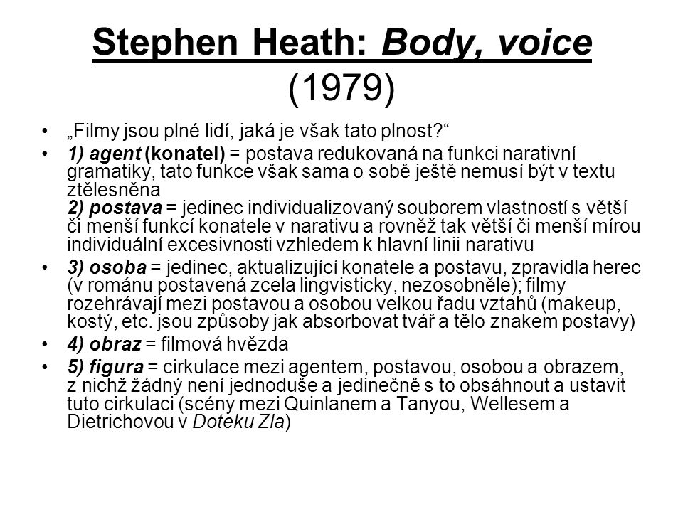 Stephen Heath: Body, voice (1979)
