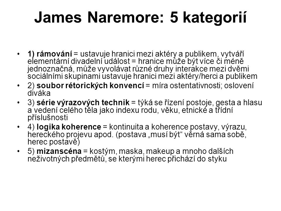 James Naremore: 5 kategorií