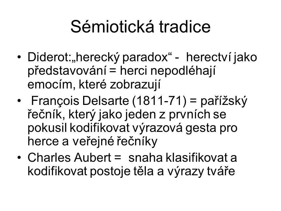 """Sémiotická tradice Diderot:""""herecký paradox - herectví jako představování = herci nepodléhají emocím, které zobrazují."""