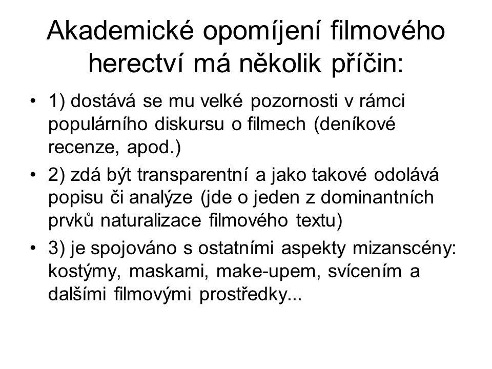 Akademické opomíjení filmového herectví má několik příčin: