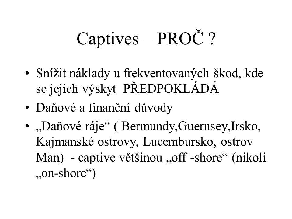 Captives – PROČ Snížit náklady u frekventovaných škod, kde se jejich výskyt PŘEDPOKLÁDÁ. Daňové a finanční důvody.