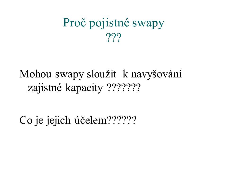 Proč pojistné swapy . Mohou swapy sloužit k navyšování zajistné kapacity .