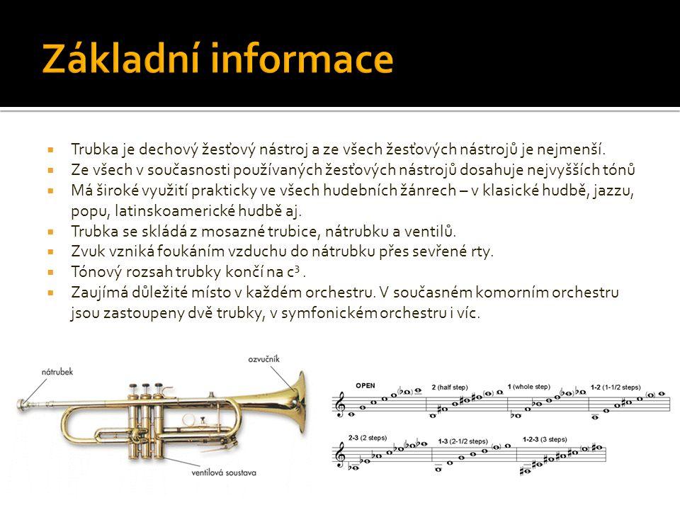 Základní informace Trubka je dechový žesťový nástroj a ze všech žesťových nástrojů je nejmenší.