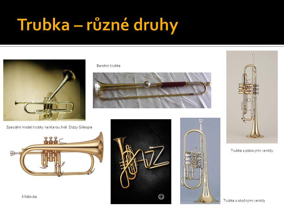 Trubka – různé druhy  Barokní trubka