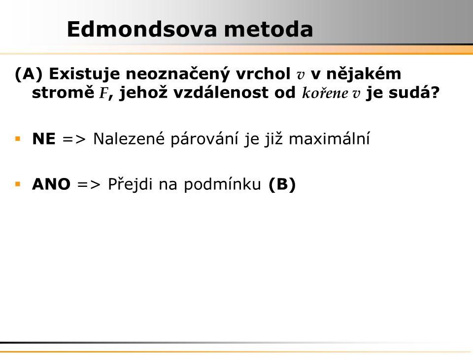 Edmondsova metoda (A) Existuje neoznačený vrchol v v nějakém stromě F, jehož vzdálenost od kořene v je sudá