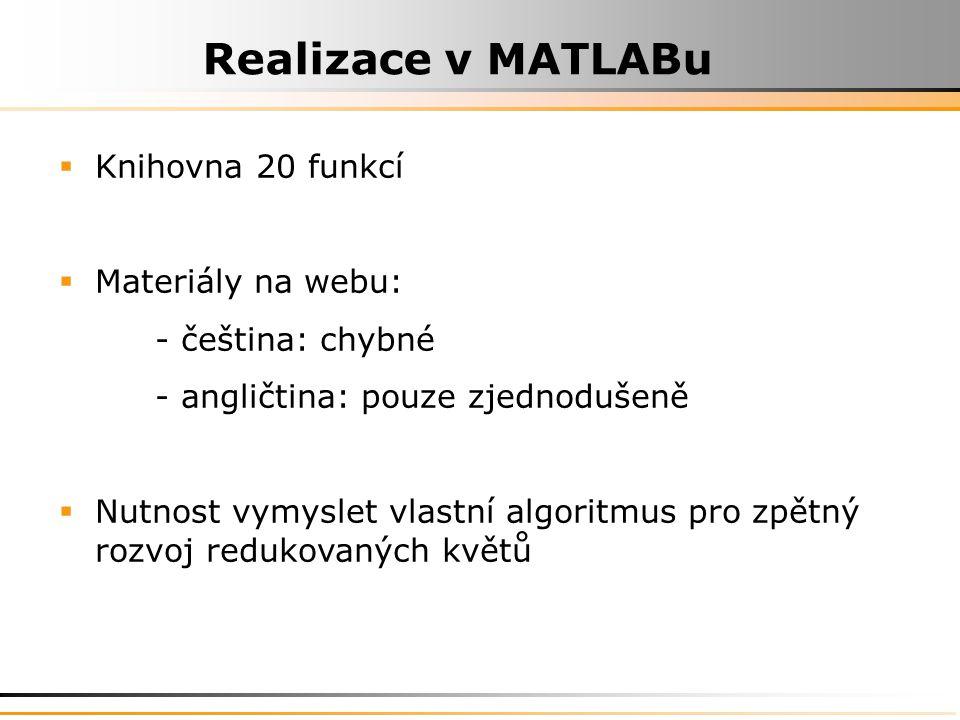 Realizace v MATLABu Knihovna 20 funkcí Materiály na webu: