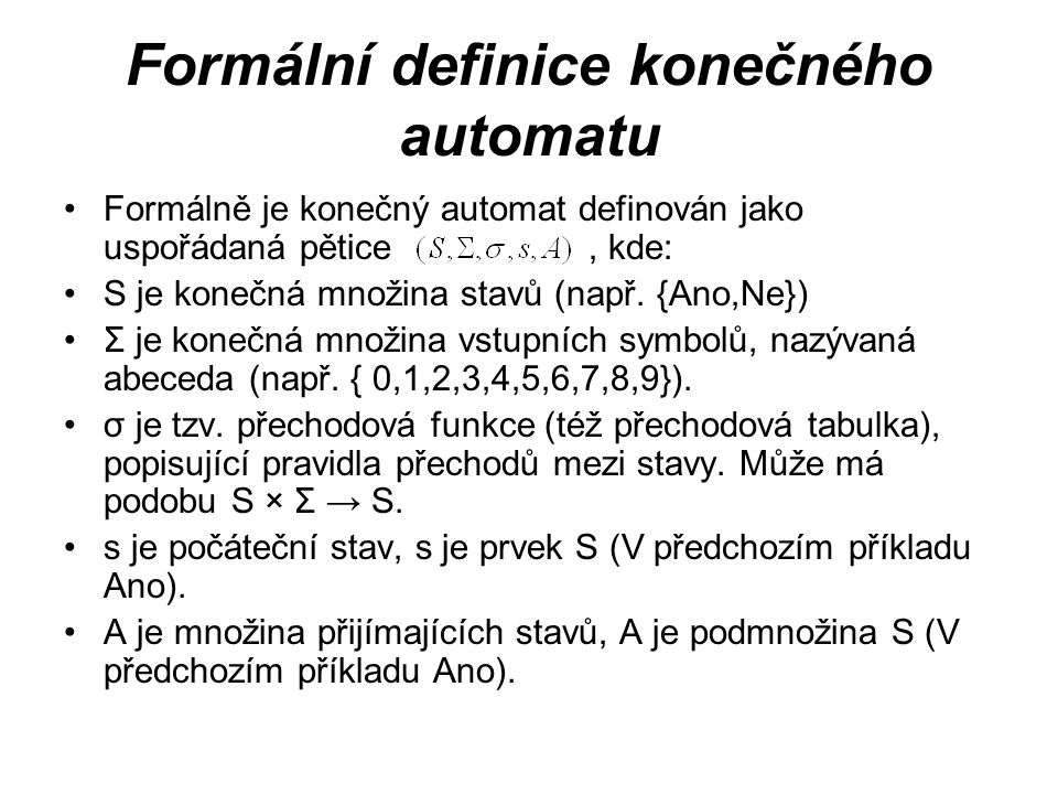 Formální definice konečného automatu