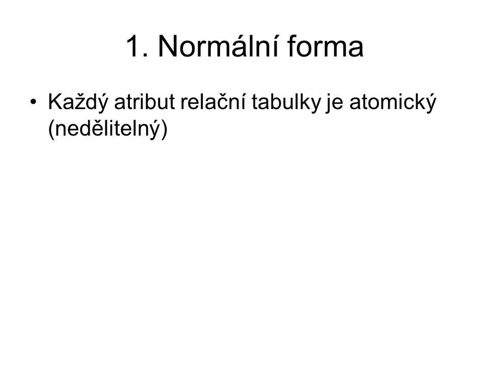 1. Normální forma Každý atribut relační tabulky je atomický (nedělitelný) 9