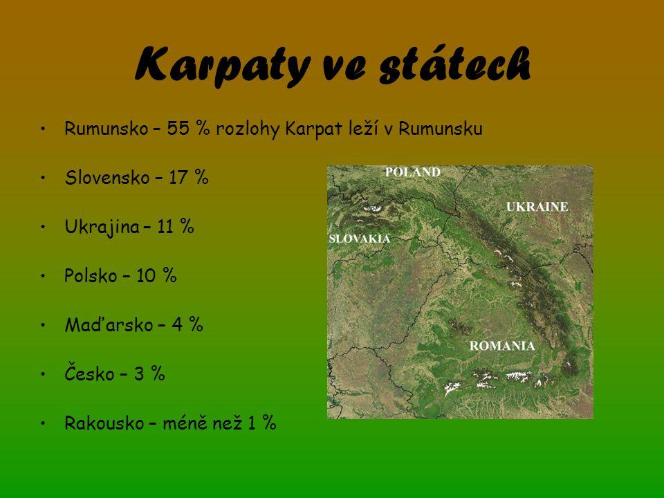 Karpaty ve státech Rumunsko – 55 % rozlohy Karpat leží v Rumunsku