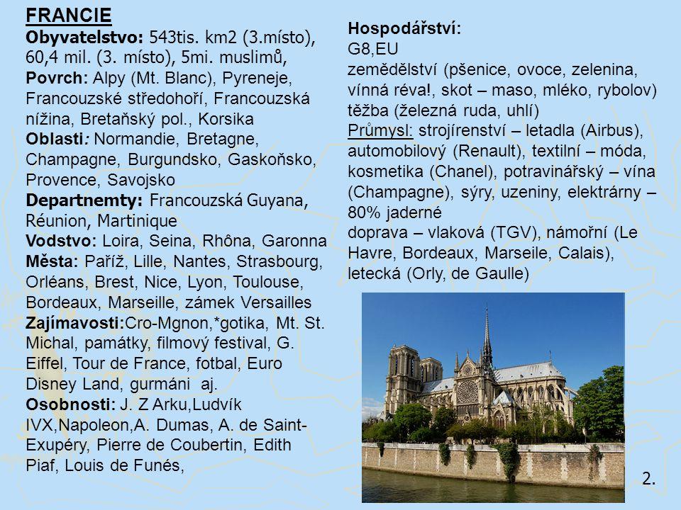 FRANCIE Obyvatelstvo: 543tis. km2 (3.místo), 60,4 mil. (3. místo), 5mi. muslimů,