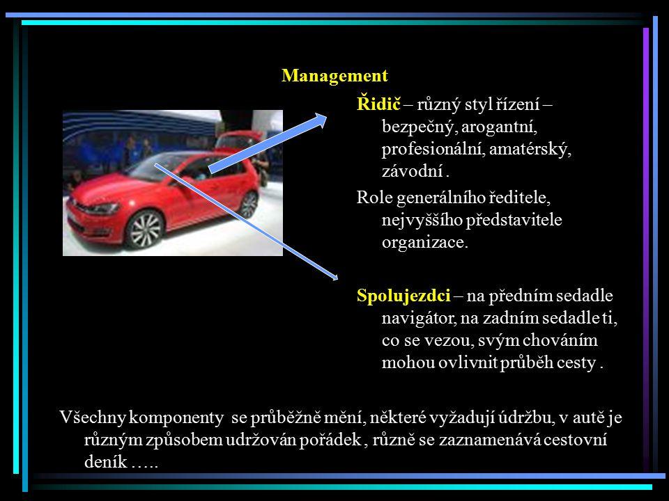 Management Řidič – různý styl řízení – bezpečný, arogantní, profesionální, amatérský, závodní .