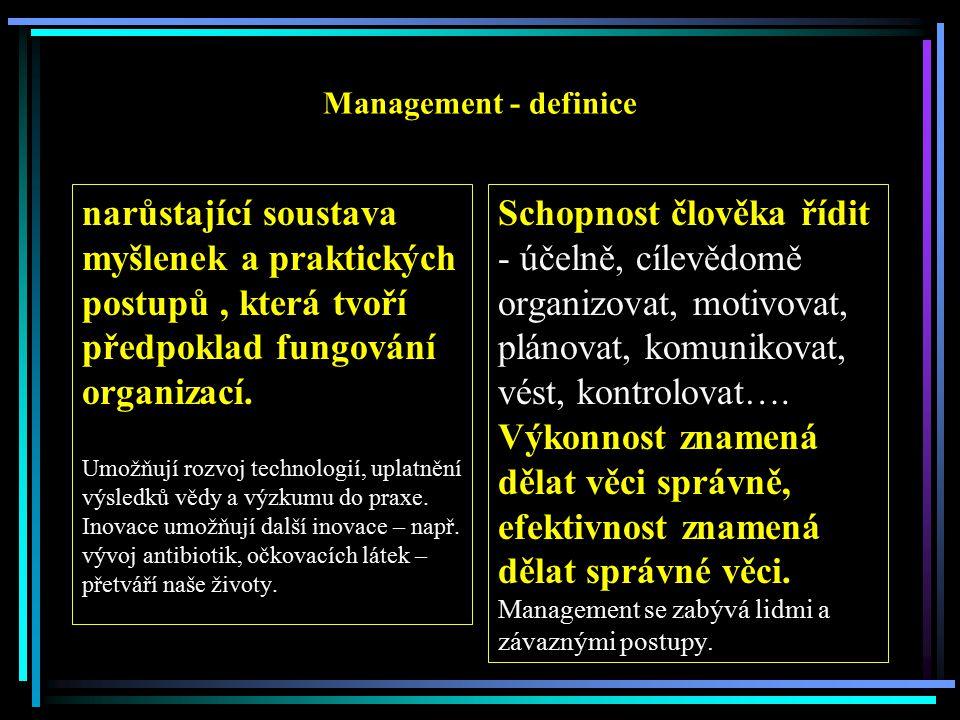 Management - definice narůstající soustava myšlenek a praktických postupů , která tvoří předpoklad fungování organizací.
