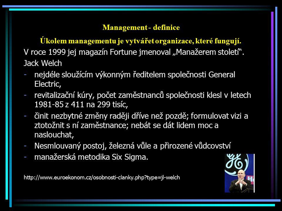 Úkolem managementu je vytvářet organizace, které fungují.
