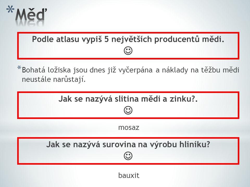 Měď    Podle atlasu vypiš 5 největších producentů mědi.