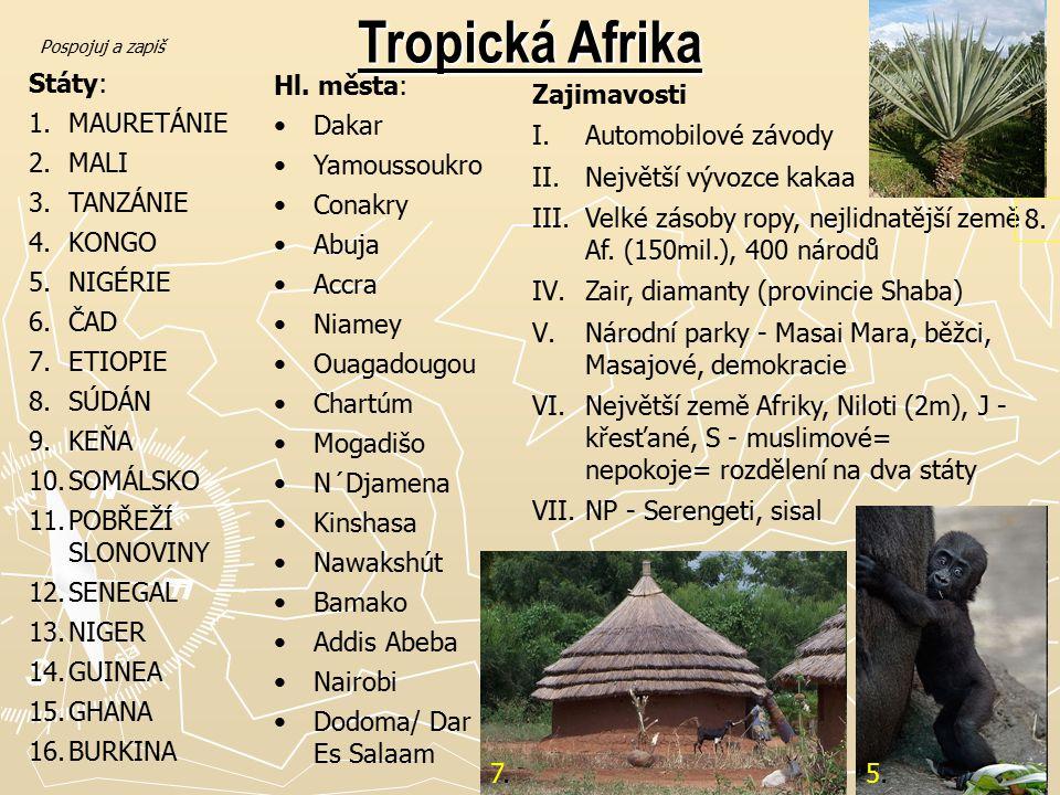 Tropická Afrika Státy: MAURETÁNIE MALI TANZÁNIE KONGO NIGÉRIE ČAD