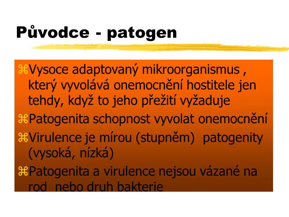 Původce - patogen Vysoce adaptovaný mikroorganismus , který vyvolává onemocnění hostitele jen tehdy, když to jeho přežití vyžaduje.