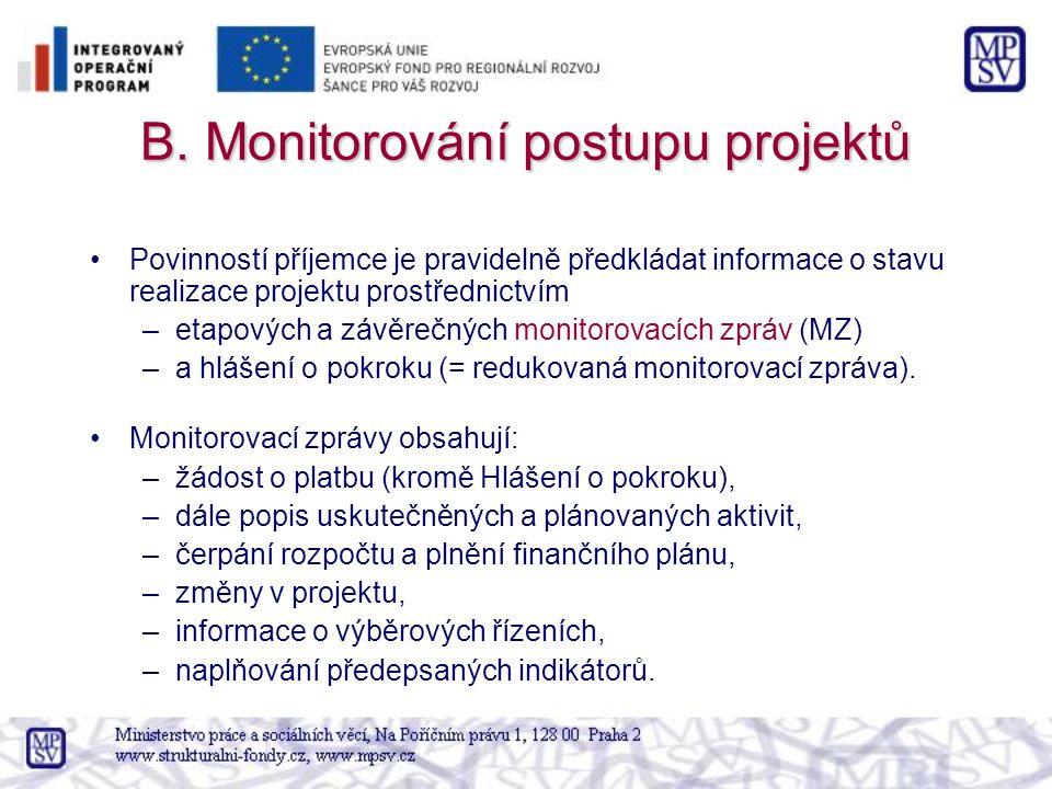 B. Monitorování postupu projektů