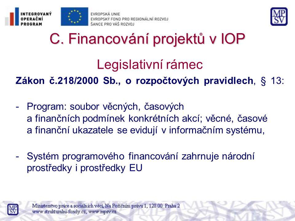 C. Financování projektů v IOP