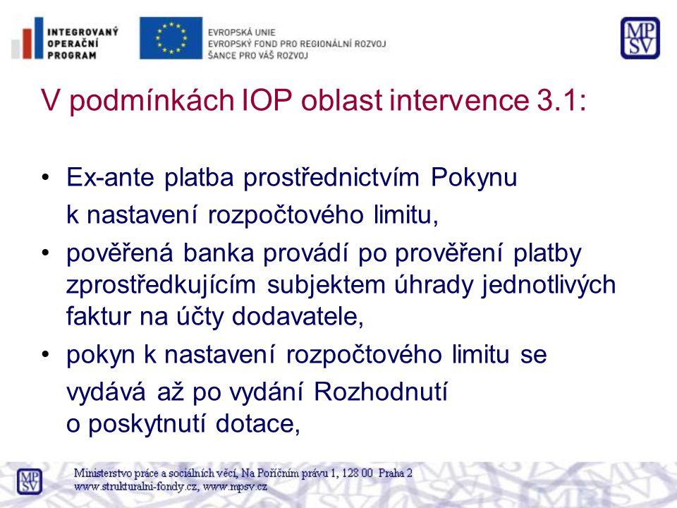 V podmínkách IOP oblast intervence 3.1: