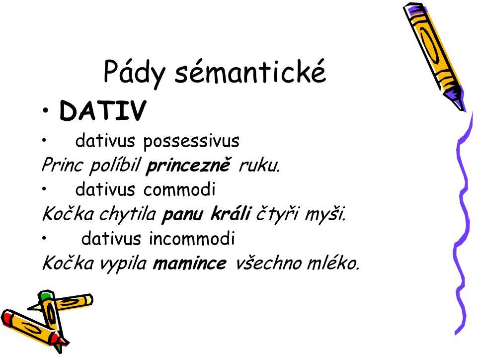 Pády sémantické DATIV dativus possessivus