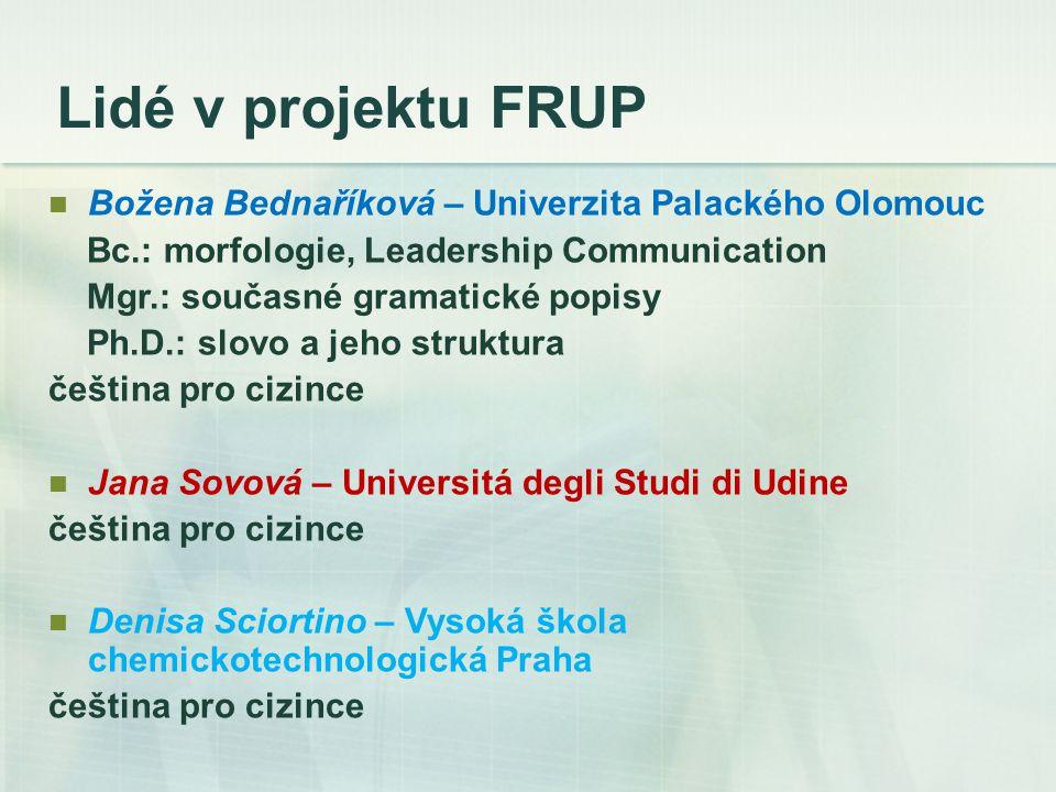 Lidé v projektu FRUP Božena Bednaříková – Univerzita Palackého Olomouc