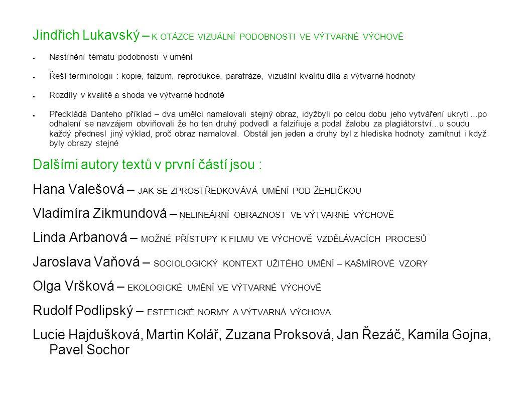 Jindřich Lukavský – K OTÁZCE VIZUÁLNÍ PODOBNOSTI VE VÝTVARNÉ VÝCHOVĚ