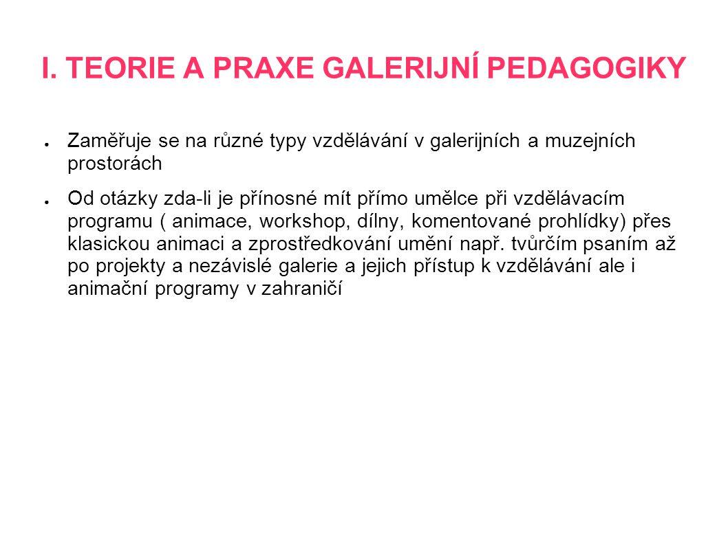 I. TEORIE A PRAXE GALERIJNÍ PEDAGOGIKY