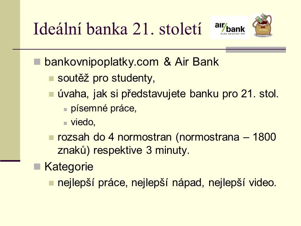 Ideální banka 21. století bankovnipoplatky.com & Air Bank Kategorie