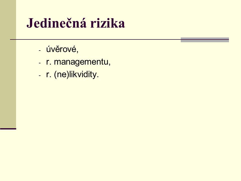Jedinečná rizika úvěrové, r. managementu, r. (ne)likvidity.
