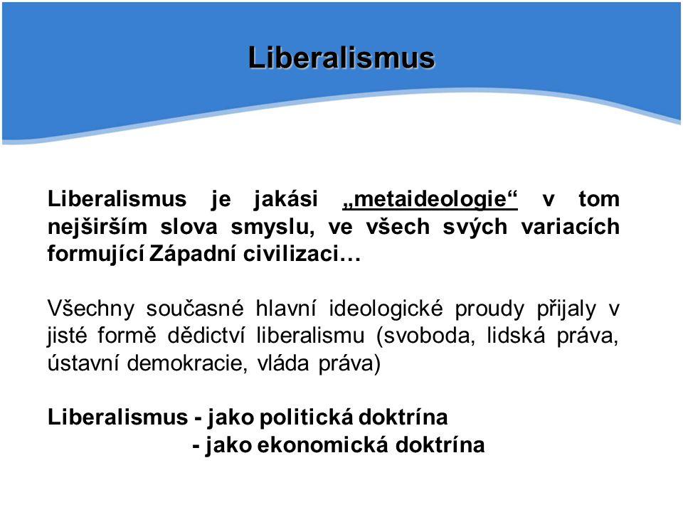 """Liberalismus Liberalismus je jakási """"metaideologie v tom nejširším slova smyslu, ve všech svých variacích formující Západní civilizaci…"""