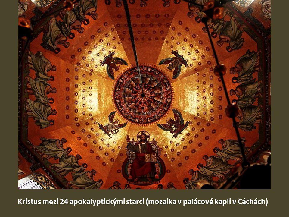 Kristus mezi 24 apokalyptickými starci (mozaika v palácové kapli v Cáchách)