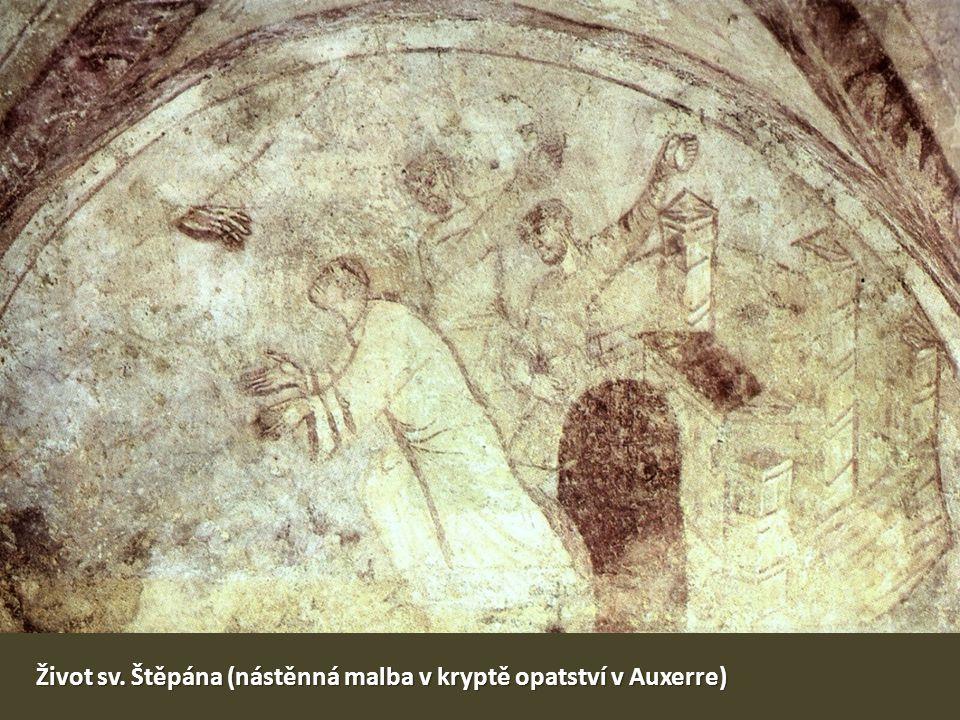 Život sv. Štěpána (nástěnná malba v kryptě opatství v Auxerre)