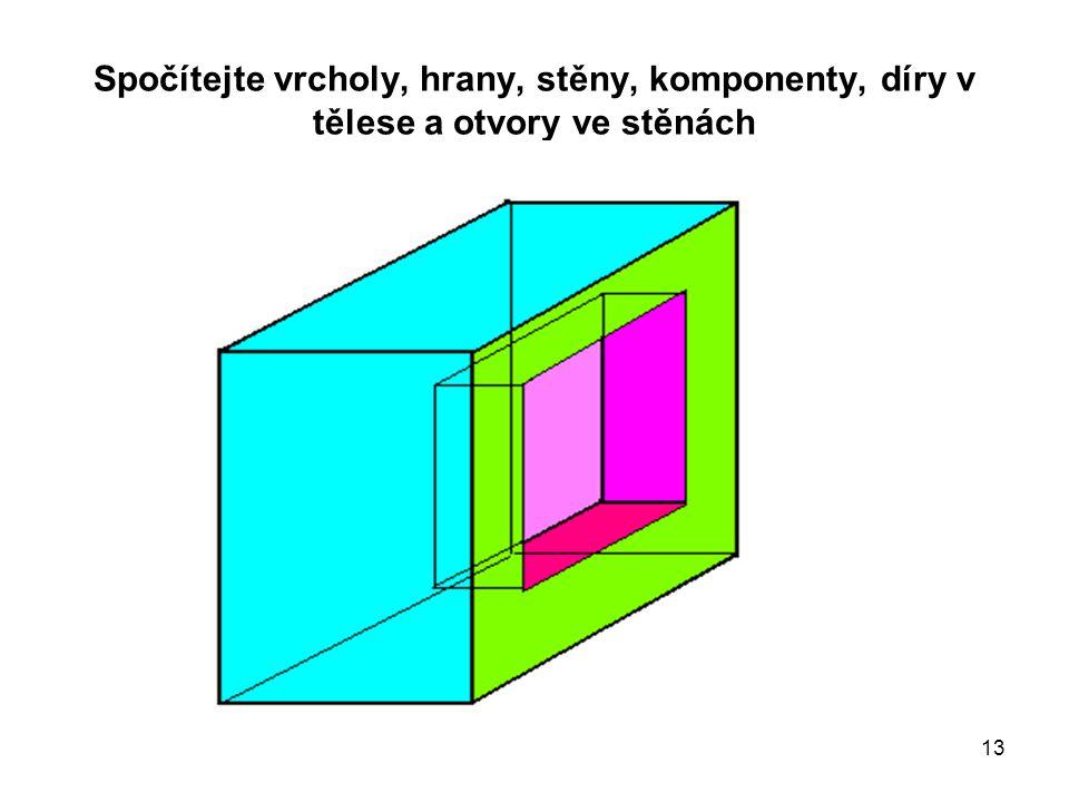 Spočítejte vrcholy, hrany, stěny, komponenty, díry v tělese a otvory ve stěnách