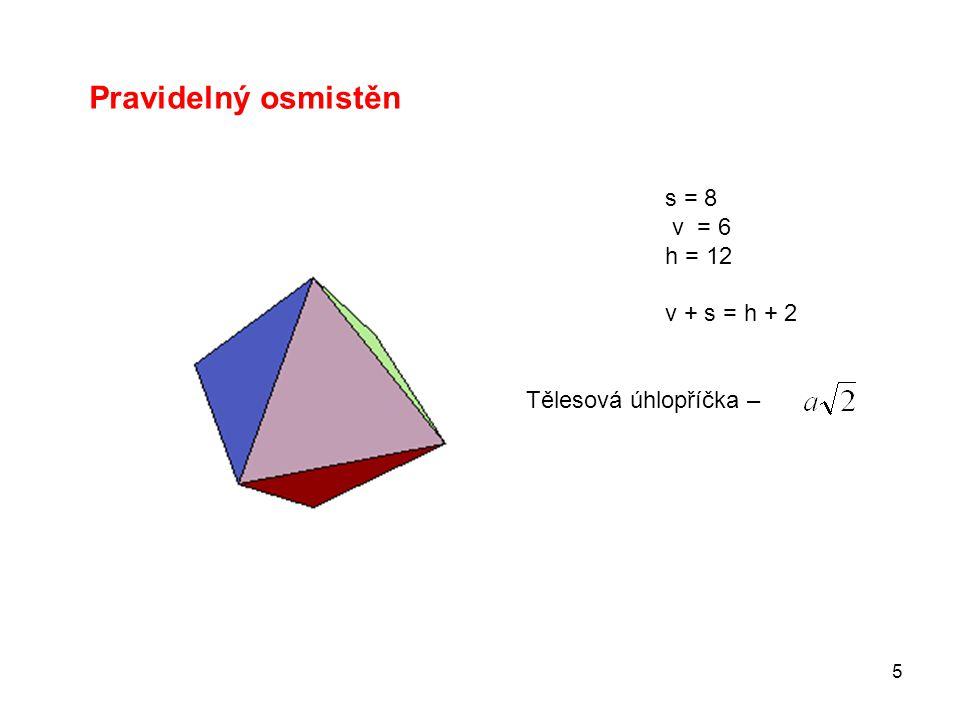 Pravidelný osmistěn s = 8 v = 6 h = 12 v + s = h + 2