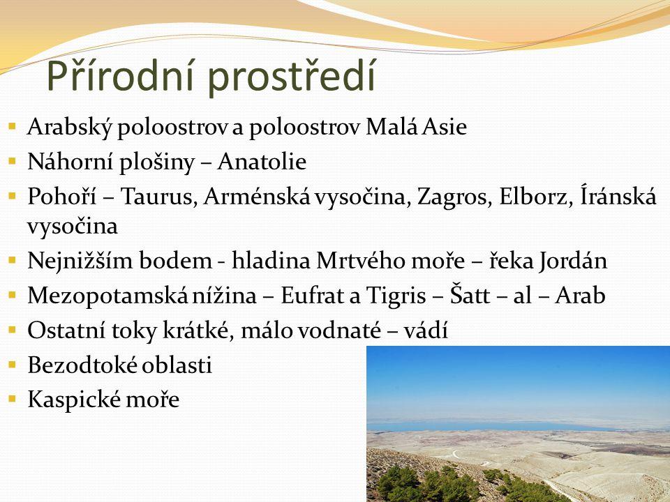 Přírodní prostředí Arabský poloostrov a poloostrov Malá Asie