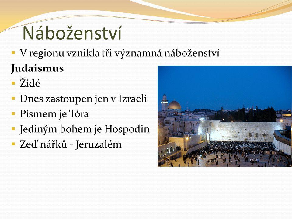 Náboženství V regionu vznikla tři významná náboženství Judaismus Židé