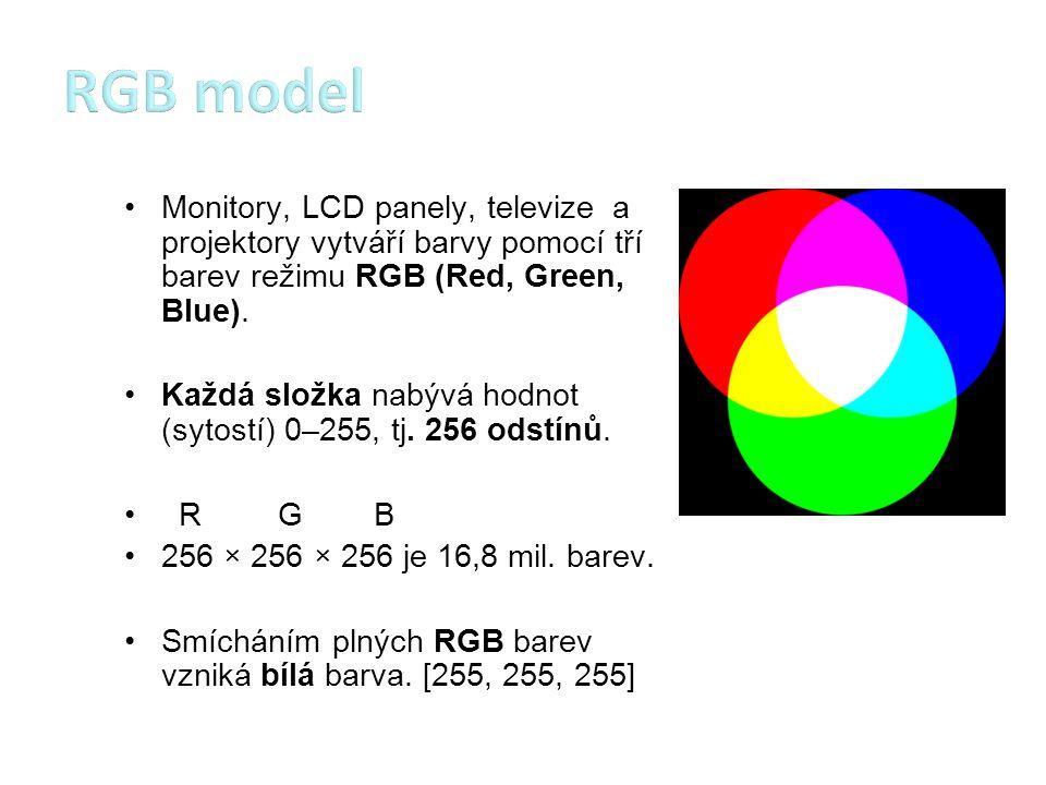 RGB model Monitory, LCD panely, televize a projektory vytváří barvy pomocí tří barev režimu RGB (Red, Green, Blue).