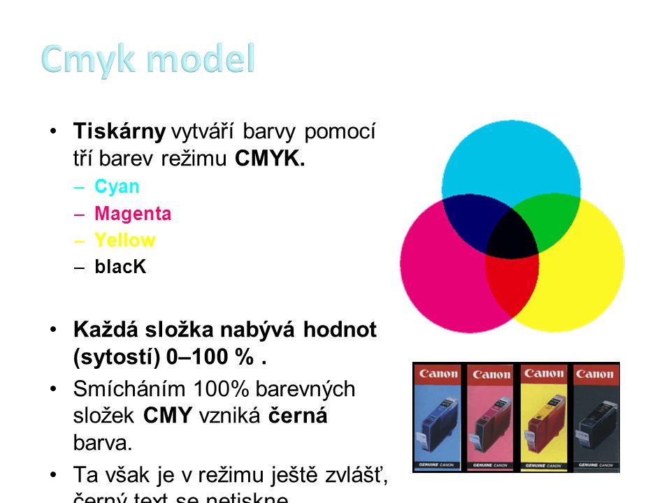 Cmyk model Tiskárny vytváří barvy pomocí tří barev režimu CMYK.