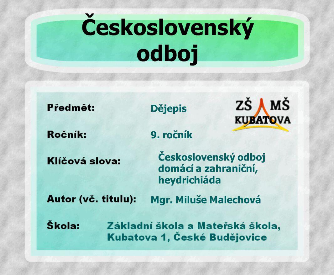 Československý odboj Dějepis 9. ročník