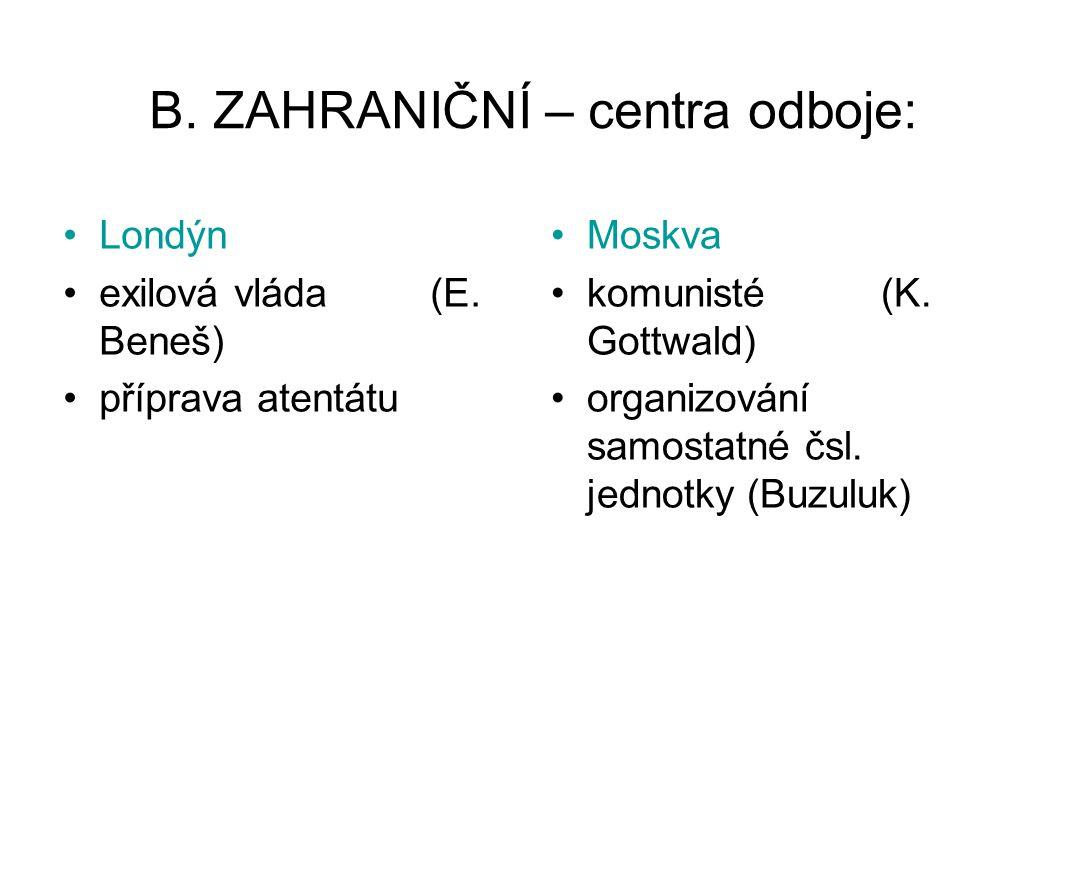 B. ZAHRANIČNÍ – centra odboje: