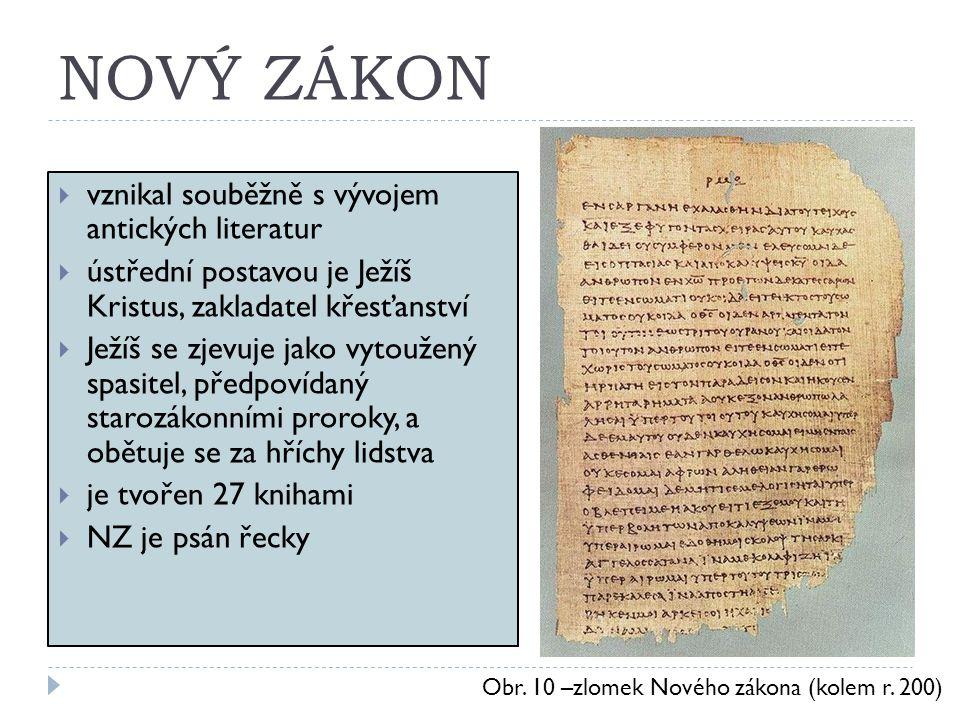 NOVÝ ZÁKON vznikal souběžně s vývojem antických literatur