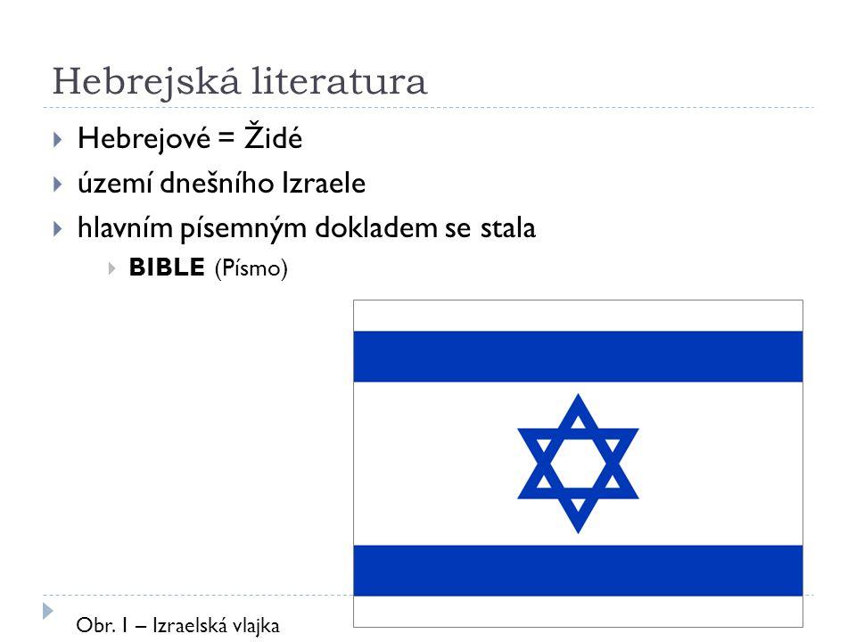 Hebrejská literatura Hebrejové = Židé území dnešního Izraele