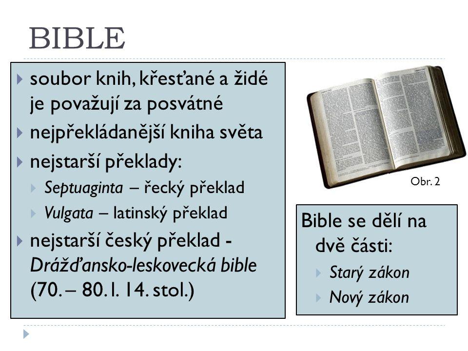 BIBLE soubor knih, křesťané a židé je považují za posvátné